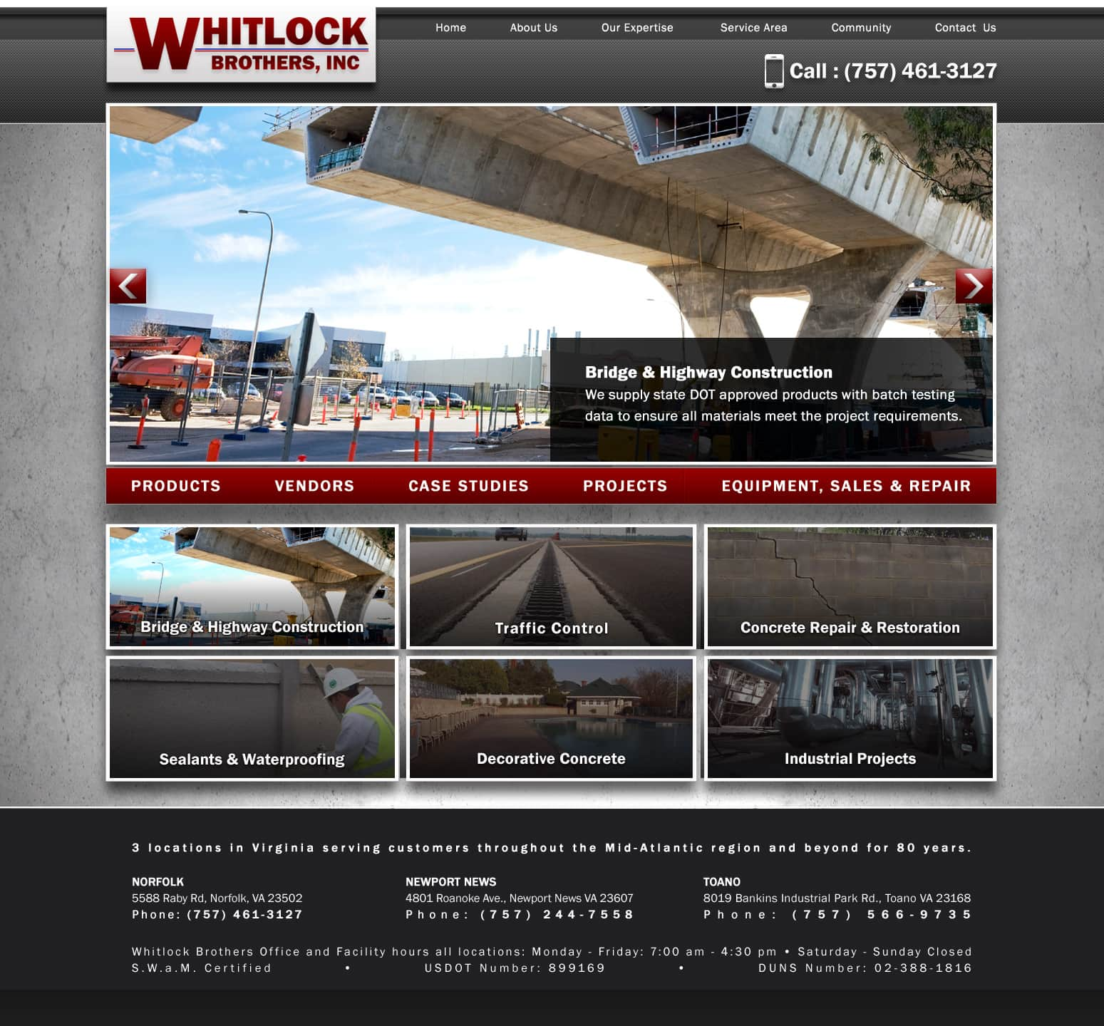 Construction website design Norfolk VA