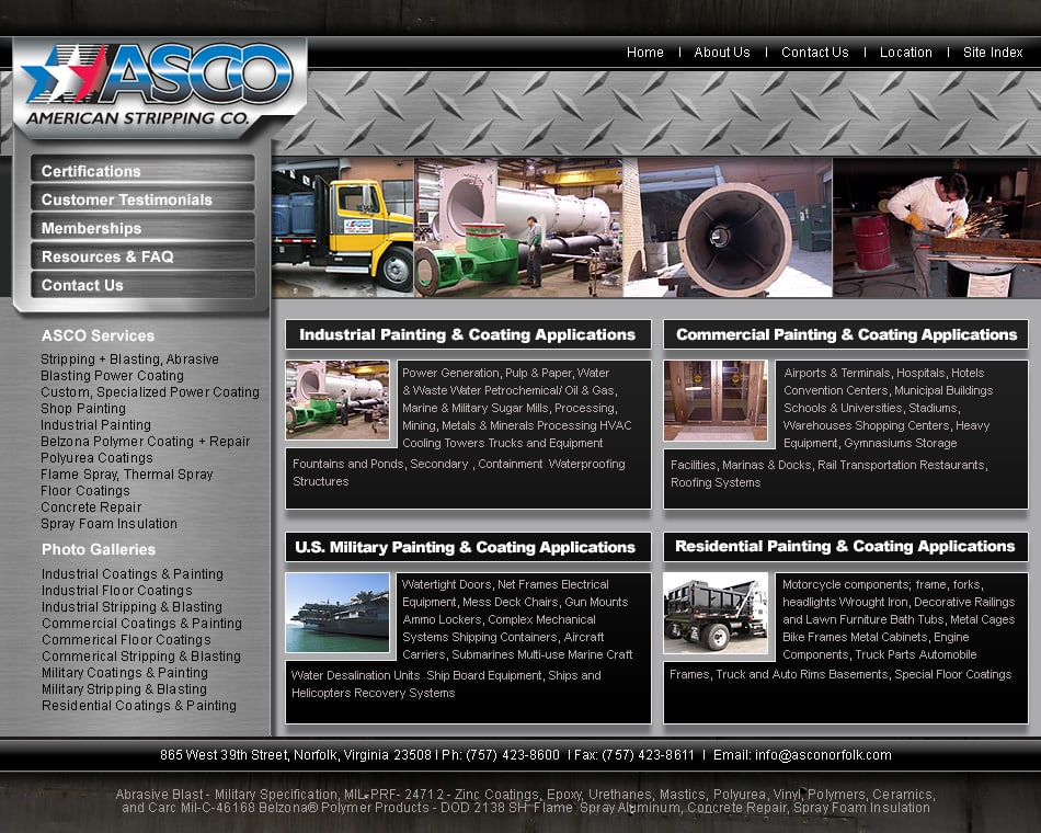 Industrial website design Norfolk VA