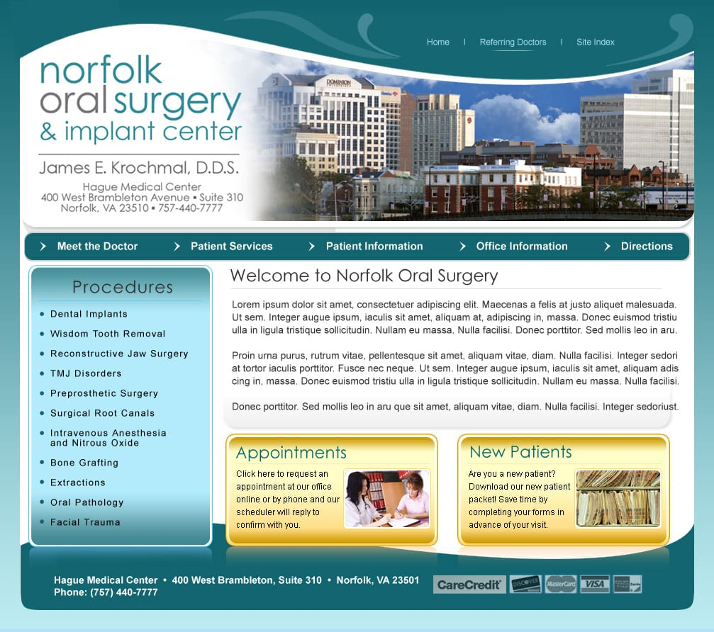 Surgeon website design Norfolk VA