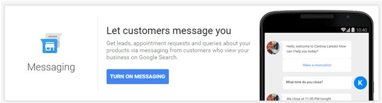 Enable Google My Business Messaging